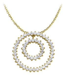LoveBrightJewelry Stunning Cubic Zirconia Double Circle Pendant in Yellow Gold Vermeil with 16 Inch Free Chain