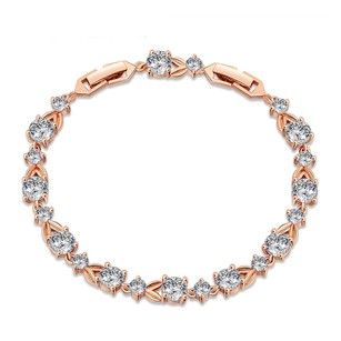 LoveBrightJewelry Stylish Design Cubic Zircon Bracelet Rose Gold Vermeil