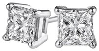 LoveBrightJewelry Surprise Gift Princess Cut Diamond Stud Gold Earrings