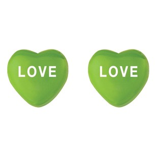 LoveBrightJewelry Sweetheart Green Enamel Love Heart Shaped Earrings In 925 Sterling Silver Valentines Gift