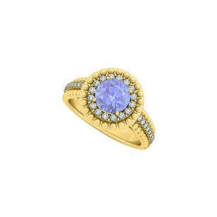 LoveBrightJewelry Tanzanite And Cz Halo Engagement Ring In Yellow Gold Vermeil With Beautiful Design Cool Price