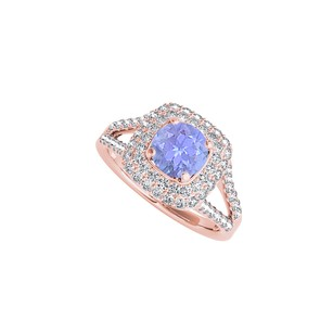 LoveBrightJewelry Tanzanite CZ Split Shank Ring in 14K Rose Gold Vermeil