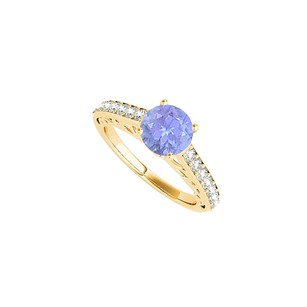 LoveBrightJewelry Tanzanite Ring In 18k Yellow Gold Vermeil With Cz Rows
