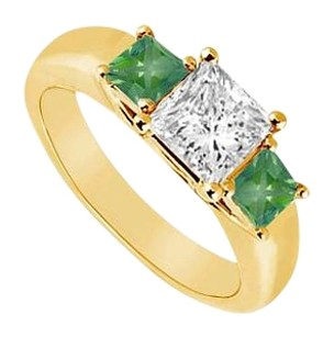 LoveBrightJewelry Three Stone Cubic Zirconia and Created Emerald Ring Yellow Gold Vermeil 0.50 CT TGW