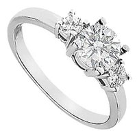 LoveBrightJewelry Three Stone Cubic Zirconia Engagement Ring Sterling Silver 1.00 CT CZs