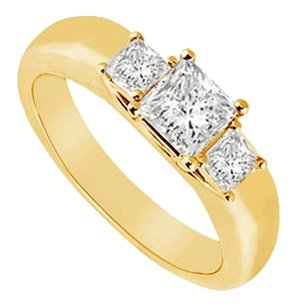 LoveBrightJewelry Three Stone Cubic Zirconia Ring 18K Yellow Gold Vermeil 0.25 CT CZs