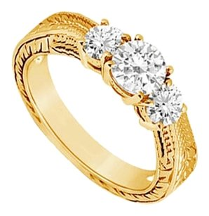 LoveBrightJewelry Three Stone Cubic Zirconia Ring 18K Yellow Gold Vermeil 0.33 CT CZs