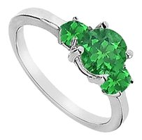 LoveBrightJewelry Three Stone Frosted Emerald Engagement Ring 925 Sterling Silver 1.25 CT TGW