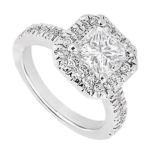 LoveBrightJewelry Triple AAA Cubic Zirconia Engagement Ring in Rhodium Plating 925 Sterling Silver One Carat TGW