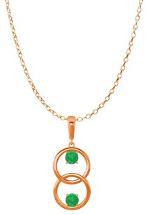 LoveBrightJewelry Two Stone Emerald Double Circle Pendant 14K Rose Gold