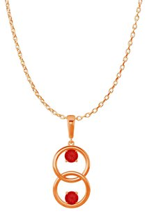 LoveBrightJewelry Two Stone Ruby Double Circle Pendant in Gold Vermeil