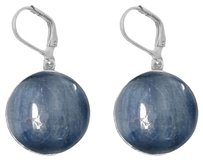 LoveBrightJewelry Unique Blue Bezel Set Kyanite Sterling Silver Earrings
