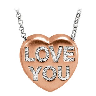 LoveBrightJewelry Valentine Diamond Love You Heart Necklace Rose Gold On 925 Sterling Silver