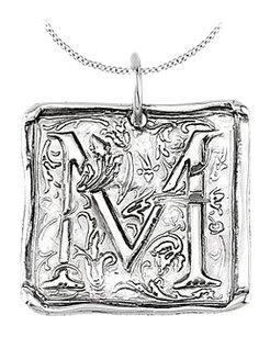 LoveBrightJewelry Vintage Pendant with Letter M Engraved Initial Necklace in Rhodium Plating 925 Sterling Silver