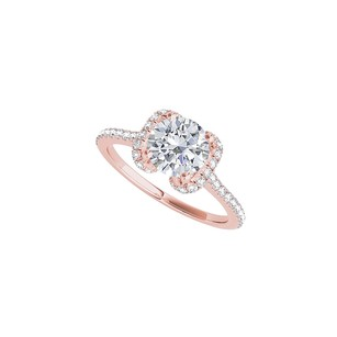 LoveBrightJewelry Winged Pattern Cz Designer Ring In Rose Gold Vermeil
