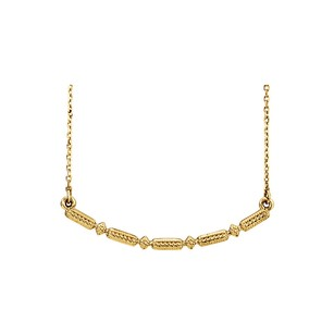 LoveBrightJewelry Yellow Gold Vermeil Beaded Bar Necklace with Free Chain