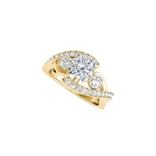 LoveBrightJewelry Yellow Gold Vermeil Engagement Ring With Cz Rows
