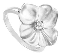LoveBrightJewelry Cubic Zirconia Flower Ring 925 Sterling Silver 0.10 CT TGW