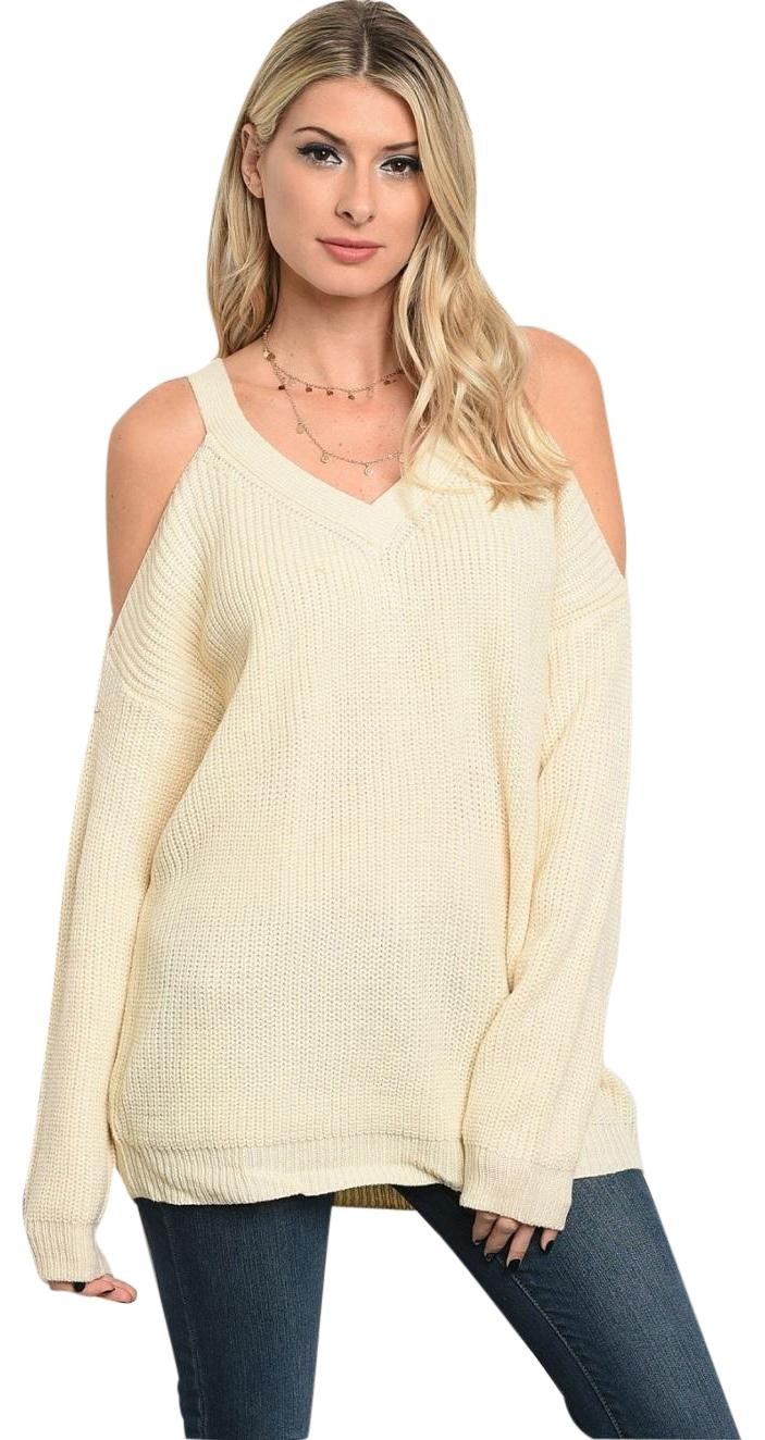 LoveRiche Ivory Sexy Cold Shoulder Tunic New Fall Holiday ...