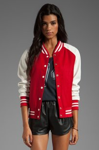Lovers + Friends Revolve Varsity Sporty Bomber Wool Leather Xsp Red Jacket