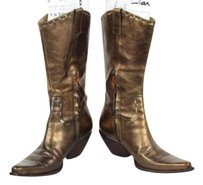 Lucchese Womens Metallic Leather Mid Calf Bronze Boots