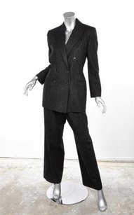 Luciano Barbera Luciano Barbera Black Gray Striped Double Breasted Wool Pant Suit Sz. 4046