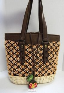 Lucky Brand Straw Canvas Tote in Brown