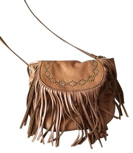 Lucky Brand Fringe Hem Vintage Leather Cross Body Bag