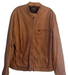 Lucky Brand Leather Moto Biker Brown Leather Jacket
