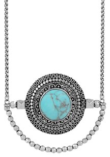 Lucky Brand Lucky Brand Jeweled Turquoise Medallion Chain & Bead Necklace JLRY2776