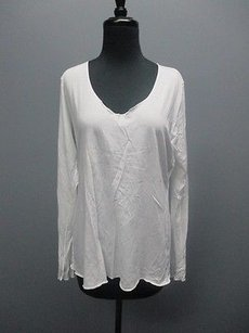 lucy Lucy White Long Sleeves V-neck Solid Casual Athletic Fitness Top Sm4713