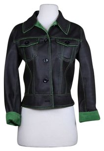 Luii Womens Green Basic Coat Faux Leather Brown Jacket