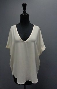 Lush Short Cuffed Sleeve V Neck Polyester Blend Sma4571 Top Beige