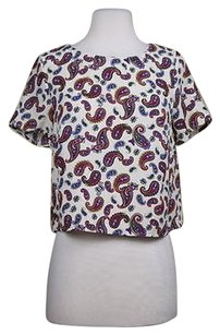 Lush Womens Shirt Paisley Cropped Casual Short Sleeve Top Creme