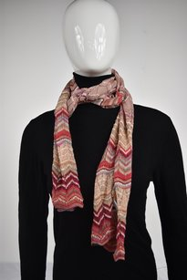 M Missoni Missoni Womens Red Pink Scarf Os One Chevron Knit Casual
