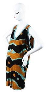 M Missoni short dress Multi-Color Brown Orange Teal Black Knit Crochet Trim Printed Draped on Tradesy