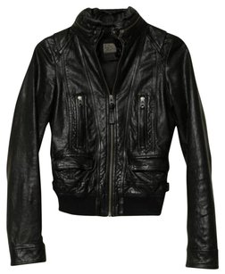 Mackage Leather Hidden Black Jacket