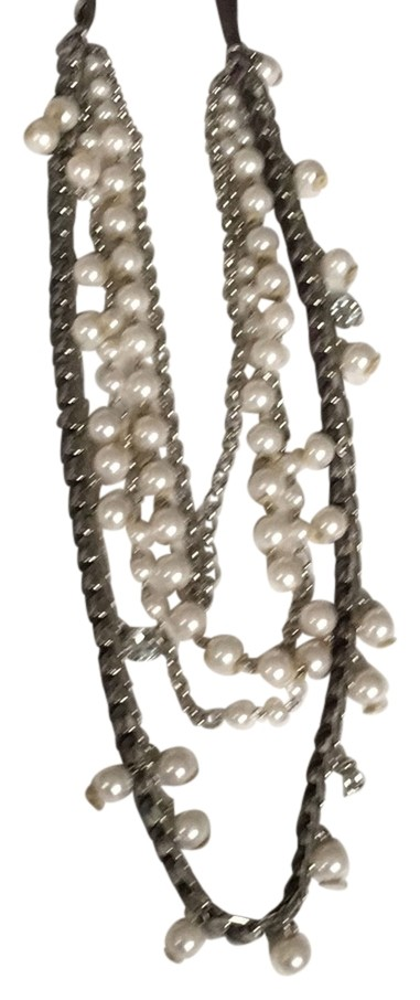 Macy's Pearl, Silver, Gray Velvet and Crystal Decortive Necklace