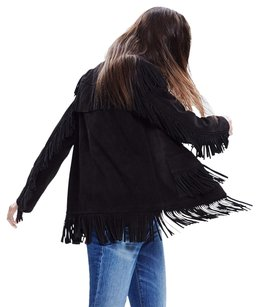 Madewell X Daryl K Reseda Suede Leather Moto Fringe Black Jacket