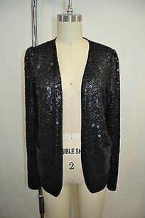 Madison Marcus Silk Sequin Front Open Black Jacket