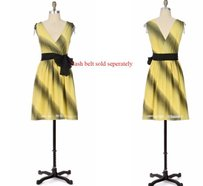 Maeve short dress Graeen, yellow By Anthropologie Shadowlight Diagonal Stripes Sleeveless on Tradesy