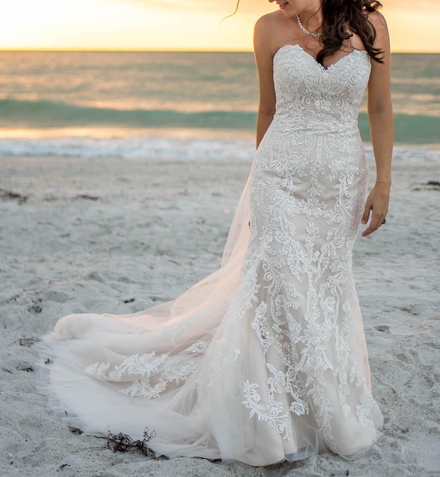 Maggie Sottero Ivory Over Light Gold Lace Winstyn Formal