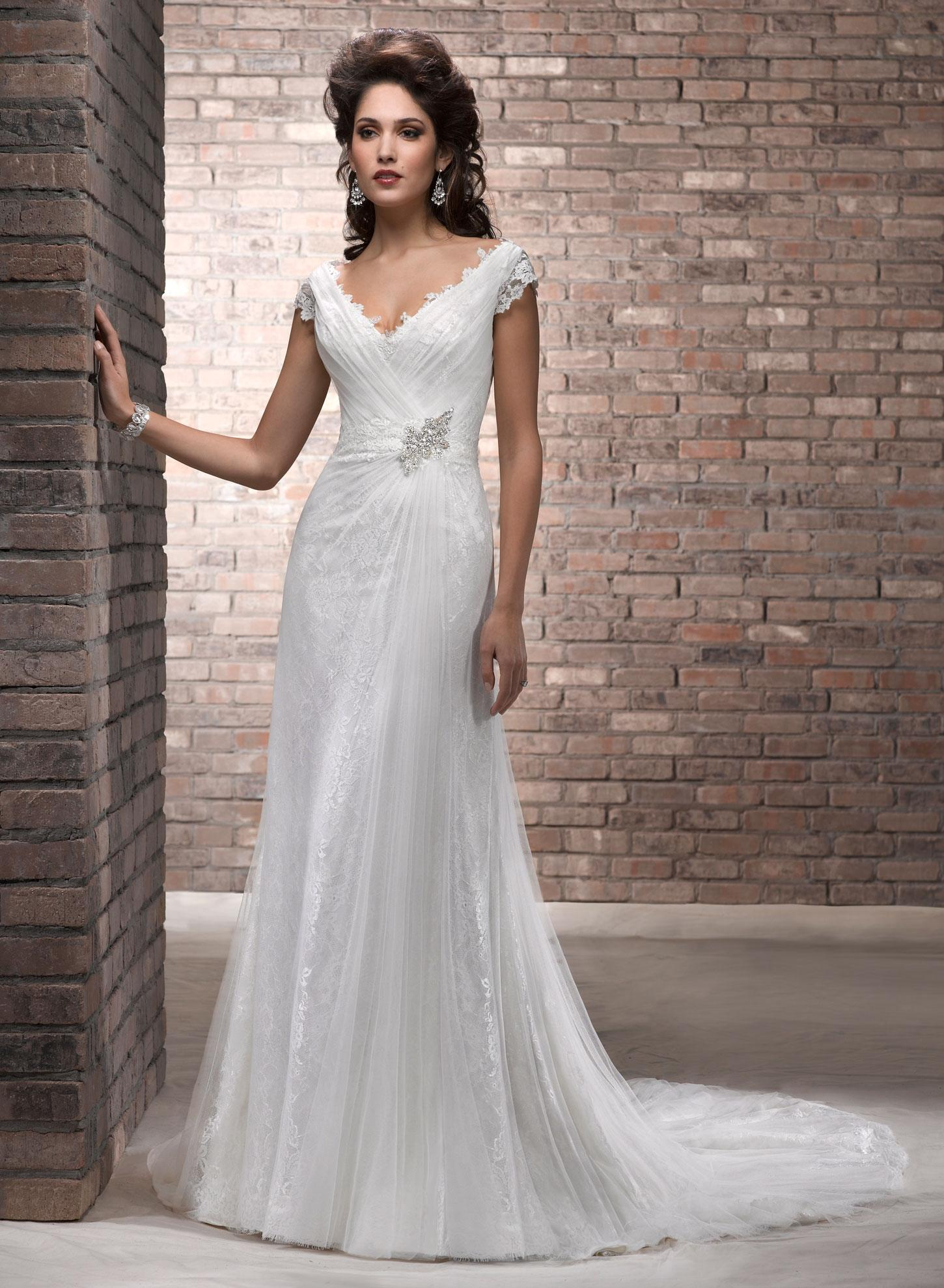 Maggie Sottero Ivory Soft Tulle Fabric Over Delicate Lace ...