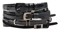 Maison Margiela Maison Martin Margiela Black Multi Leather Strip Buckle Wide Waist Belt