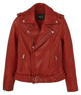 Maje Leather Moto Red Leather Jacket