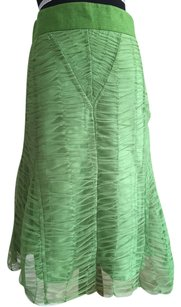 Mango Ruched Net A-line Skirt Green