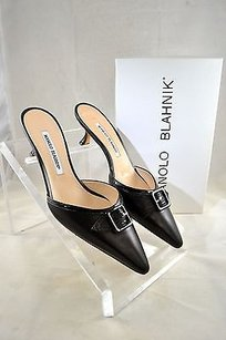 Manolo Blahnik Manolo Leather Buckle Kitten Heels Black Mules