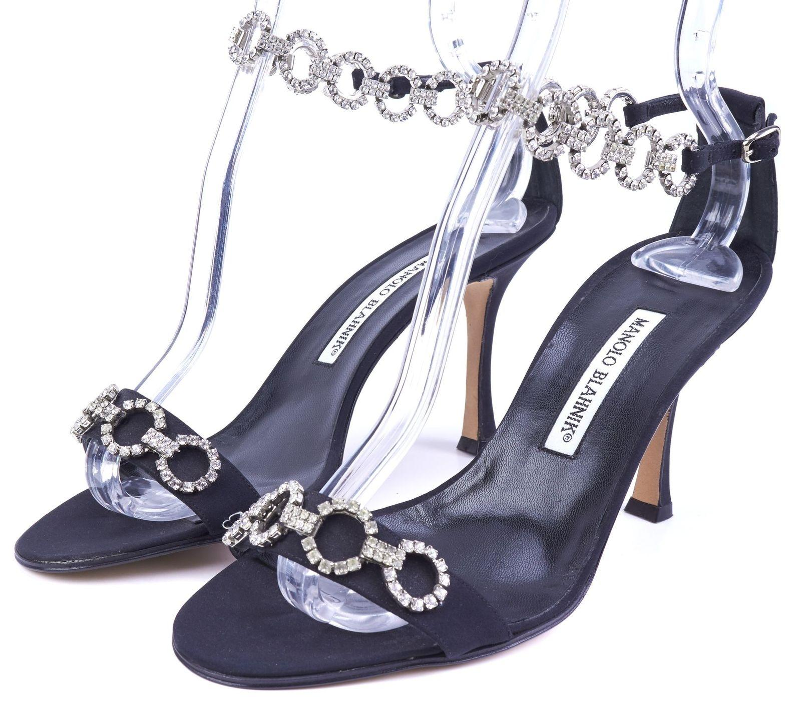 997460e71 Manolo Blahnik Blahnik Blahnik Black Satin Rhinestone - Pumps Size EU 38.5 ( Approx. US 8.5) Regular (M