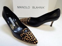 Manolo Blahnik Manolo 6m Leather Animal Print Calf Hair Black Pumps