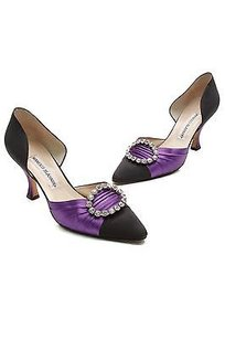 Manolo Blahnik Black Black, purple Pumps